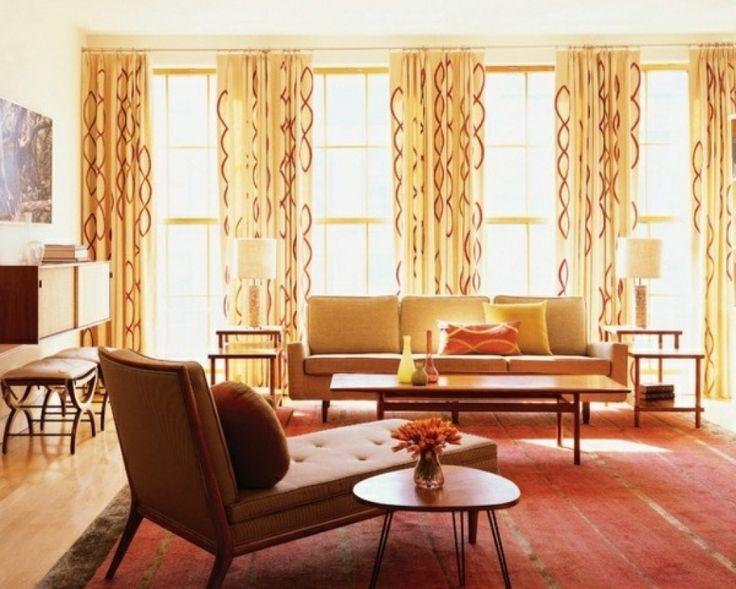 wohnzimmer deko orange gardinen im wohnzimmer deko ideen ...