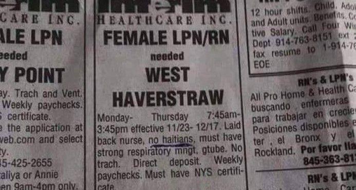 """Se Busca Enfermera: """"Haitianas Abstenerse""""; Anuncio De Empleo Causa Revuelo"""