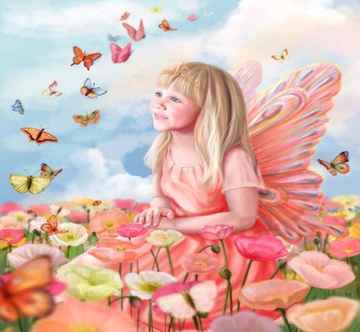 Pink childlike butterfly fairy