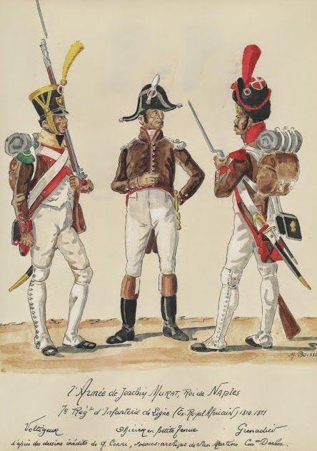 Volteggiatore, ufficiale e granatieri del 7 reggimento fanteria di linea del regno di Murat