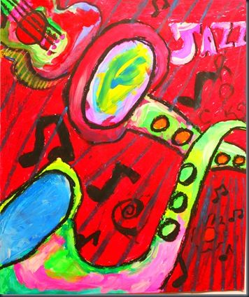 Jazz Instruments - 4th grade?  Draw only a section of the instrument then paint and finish by outlining with oil pastel.  They can add whatever elements of Jazz they want such as music notes.