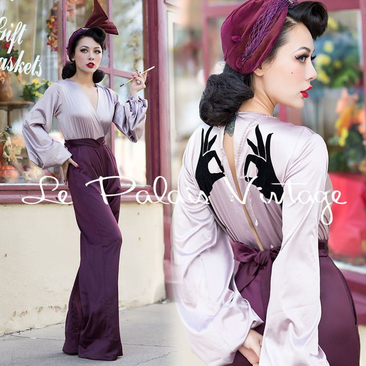 Le Palais Vintage Purple Lantern Sleeve Back Design Jumpsuit - Designed by Winny #LePalaisVintage #Jumpsuit