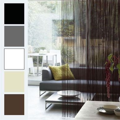 STRING Curtain Panel / Fringe Room Divider BLACK - Quickfit Blinds and Curtains