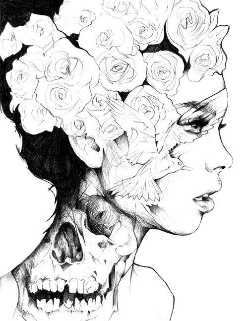 Je n'aime pas la tête de mort sur son cou mais les roses dans ses cheveux et l'oiseau sur son visage sont magnifique. Quand je vois cette oeuvre, j'ai l'impressions quelle est éblouie par quelque chose ou quelqu'un elle est bouche-bée. D'après moi il n'y a que de l'ancre.