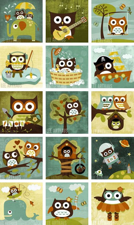 cute retro owl paintings; that would actually make cute square blocks for a quilt