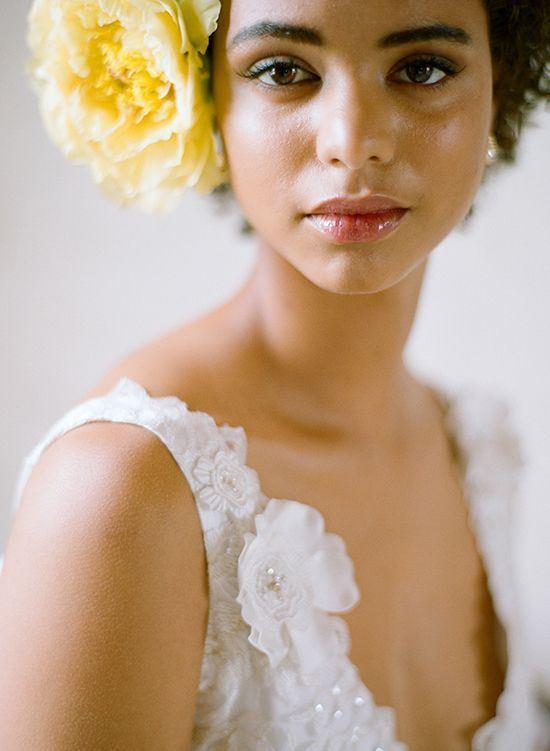 White, Black and Gold Wedding Make up. bride with yellow flower - photographed by Elizabeth Messina