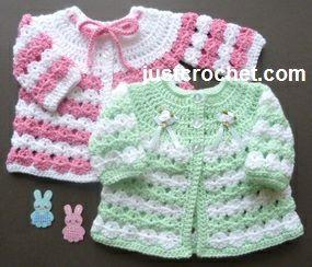 Free baby crochet pattern for newborn coat http://www.justcrochet.com/newborn-coat-usa.html #justcrochet: