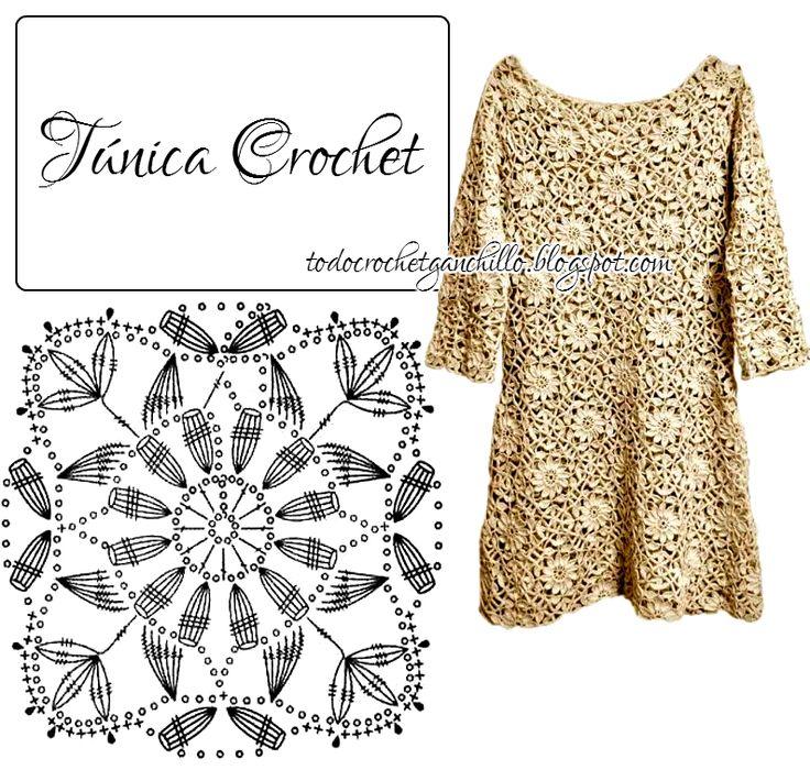 453 best Crochet dresses&tunics-2 images on Pinterest   Vestidos de ...