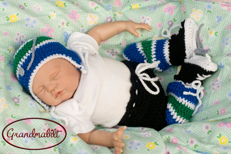 Crocheted BABY BOY HOCKEY Hat, Pants, Socks and Skates Set Vancouver Canucks or any Team Color Preemie Newborn 3 or 6 Months. $60.00, via Etsy.