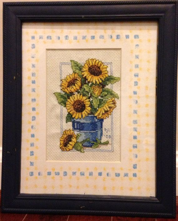 Completed Cross Stitch in Frame Sunflowers and by dannileifer, $24.99
