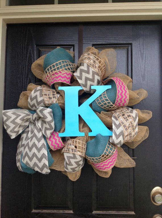 Chevron Grey, Turquoise, and Hot Pink Monogram Wreaths on Etsy, $70.00