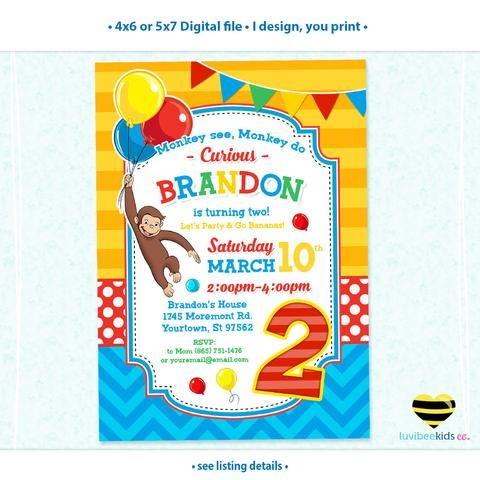Curious George Invitation with Photo, Any Name & Age, Printable Invitations Design #008
