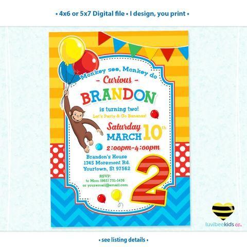 best 25+ curious george invitations ideas on pinterest | curious, Party invitations