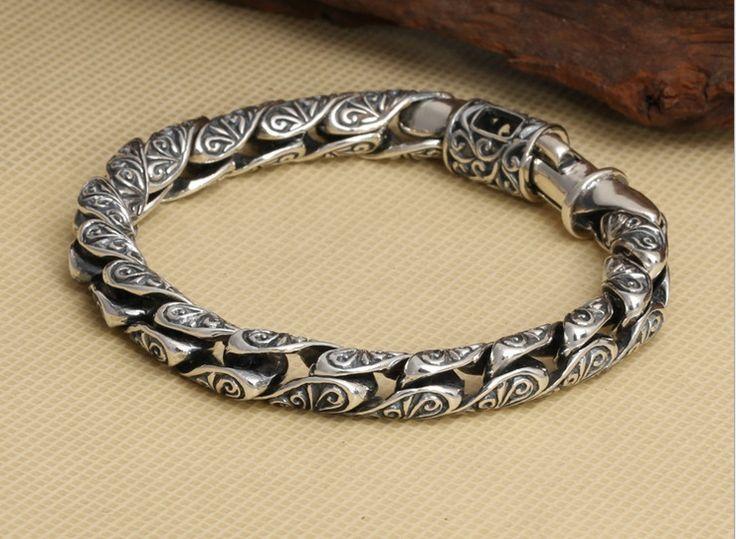 S925 Vintage Pure Thai Silver Chain Bracelet / Sterling S925 Silver Wholesale Bracelet For Men - Length 21cm - http://www.aliexpress.com/item/S925-Vintage-Pure-Thai-Silver-Chain-Bracelet-Sterling-S925-Silver-Wholesale-Bracelet-For-Men-Length-21cm/32292107486.html
