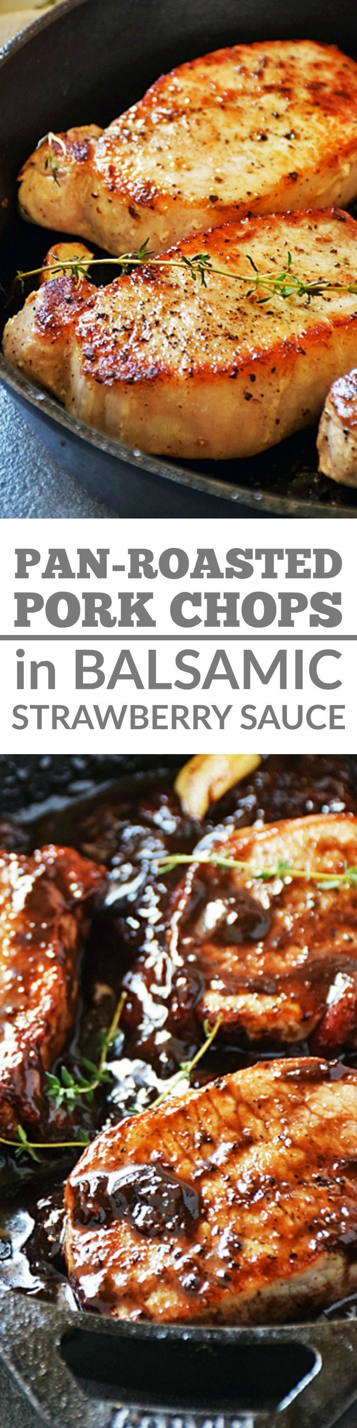Pork Chops with Balsamic-Strawberry Sauce is a deliciously easy dinner that's on the table in about 30 minutes from start to finish! I love using fresh ingredients to maximize flavor in easy recipes. #SundaySupper #FLStrawberry /Flastrawberries/