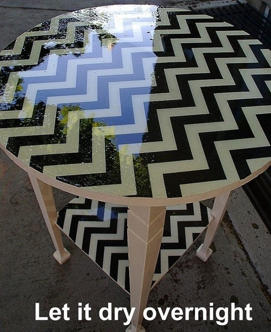 Mod Podge fabric to a side table, pour resin on top, let it dry overnight.