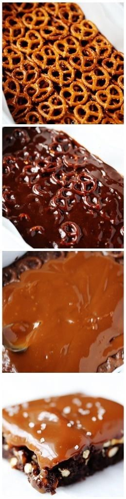 Salted Pretzel Caramel Brownies - Rhonda asked Kathy to make it for her via Facebook. Make for Rhonda. May 14 is her birthday