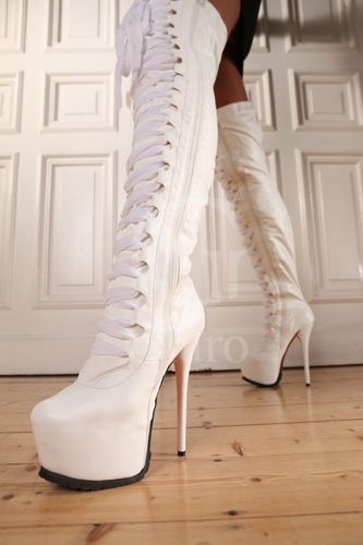 Over The Knee White Boots - Cr Boot