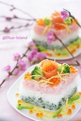 ひな祭りのお寿司♪ひしもち風♪ Sushi for Hina Matsuri (Doll Festival/Girl's Day, March 3)
