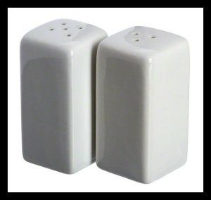 American Metalcraft CSPS3 Square, Ceramic Salt and Pepper Shakers, 3-1/4-Inch. These plain white Ceramic Salt And Pepper Shakers can be used for home or resturant. They have a classical elegant look, and can be use to enhace any dinner setting. There is a silicone plug at the bottom. http://theceramicchefknives.com/ceramic-salt-pepper-shakers/