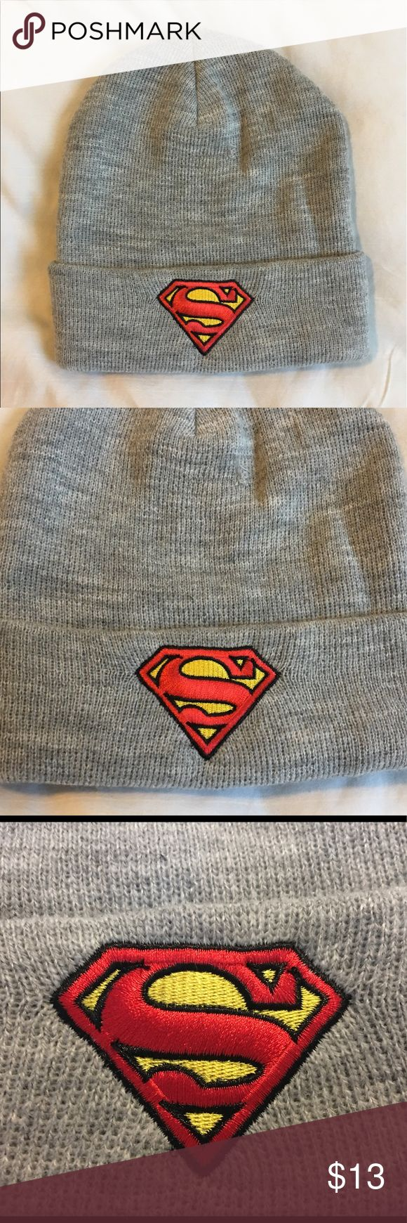 Dc comics Gray superman beanie Thank you for viewing my listing coming for sale is a men's, DC comics brand, gray, superman beanie. Item is used but in great condition. No rips or stains. If you have any questions or would like additional photos please feel free to ask. One size fits most DC Comics Accessories Hats