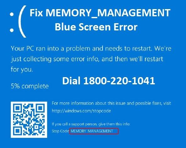 Steps to Fix MEMORY_MANAGEMENT Blue Screen Error Toll Free: 1-800-220-1041  #Windows #MEMORY_MANAGEMENTBlueScreenError