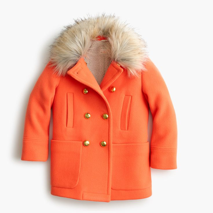 For Children: @jcrew Neon Tangelo  Faux-Fur Collar Coat £190.00