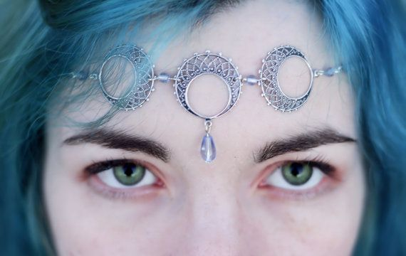 Triple Moon Goddess Faery WICCA Circlet Tiara by KaresKreations