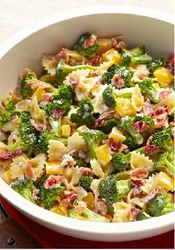 Tangy Broccoli-Pasta Salad  Broccoli florets, crumbled bacon, chopped peppers and bow-tie pasta. Only 25 minutes to prep this colorful salad recipe!