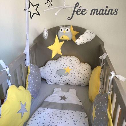 Tour de lit nuages en coton gris étoilé, blanc étoilé et jaune avec étoiles : Mode Bébé par fee-mains-59