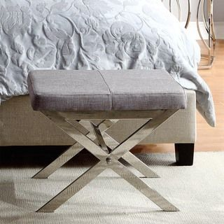 Santos Contemporary Chrome Finish Grey Linen X-base Vanity Stool | Overstock.com Shopping - The Best Deals on Benches