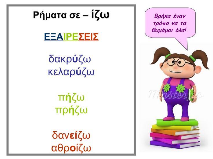 ρήματα σε ιζω εξαιρέσεις by Antonia Karalexidou via slideshare