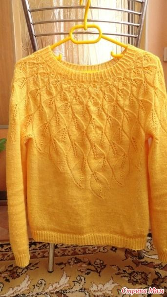 Доброго времени, Мамочки!  Связался у меня весенний свитер к жаккардовой юбки из кауни Осень. Свитер вязала без роста.  Пряжа Vita Elegant, 70% шерсть, 30% акрил, 400 м/100 гр.