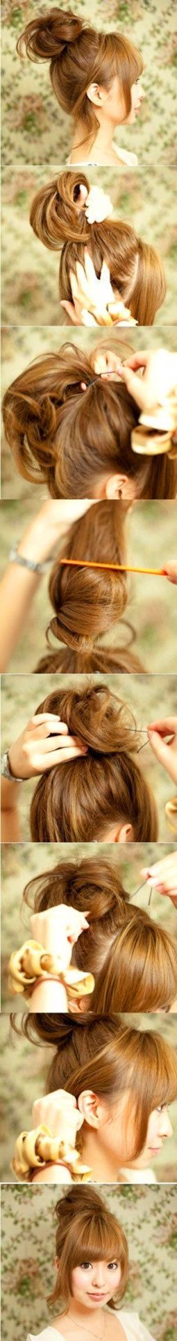 Super cute.HINT: those U shaped hair pins..bend the ends back on themselves-so they ALMOST look like an M, but only bend the tips of the pins- THEN insert bent U pin into bun, or updo…THIS will insure that U pin is NOT coming out! Those U pins are so thin and tend to slide out easily, this way they dont…just a hint from a hairdresser!