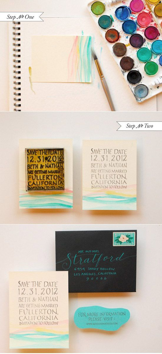 Watercolor Cards - I like this one too, as a save the date.