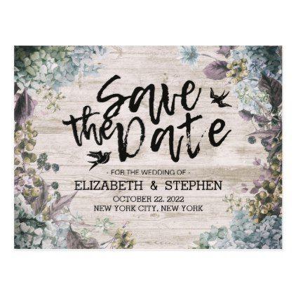 Wedding Save The Date Botanical Floral Rustic Wood Postcard - bridal shower gifts ideas wedding bride