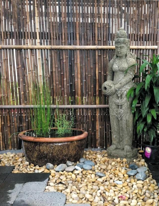 gabionen toom holzzäune mit bambus, die clevere lösung