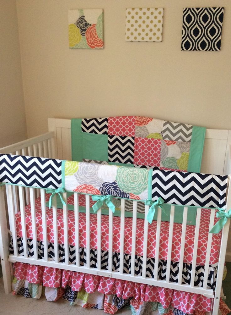 Floral And Navy Crib Bedding