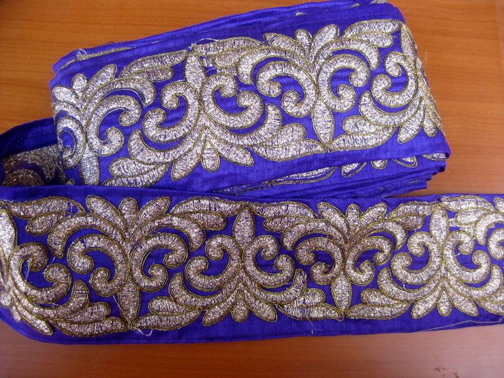 9 meters.Border, lace,  embroidered, floral design in purple and golden color. (360 inches approx.). Free shipping. by vibrantscarves on Etsy
