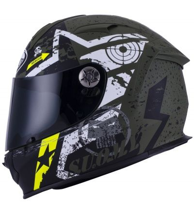 Suomy SR Sport Stars Military Green Helmet. A top of the range helmet built for the track which is comfortable enough for road use.
