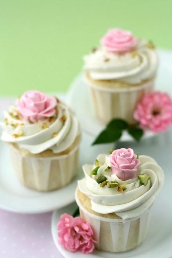 Wedding Cupcakes with Edible Pink Sugar Roses