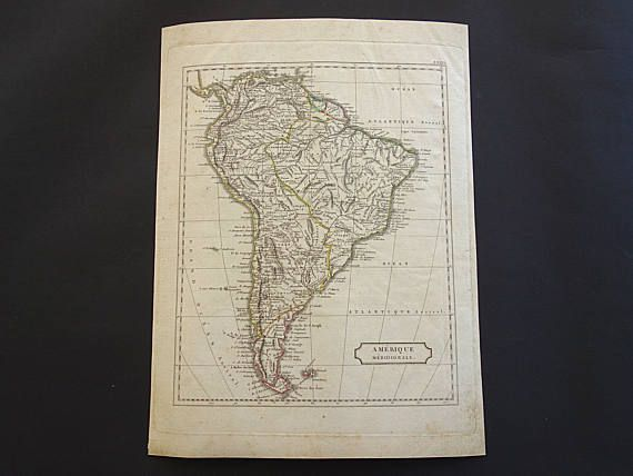 SOUTH AMERICA map 200 years old map of SA continent