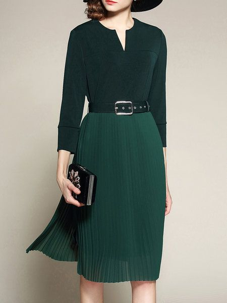 Dark Green 3/4 Sleeve Plain Paneled Midi Dress