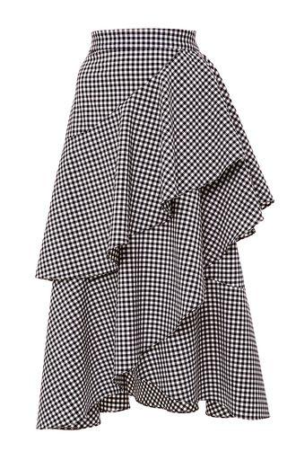 Средний Марисса Уэбб дом ситцевом плед асимметричная юбка с рюшами