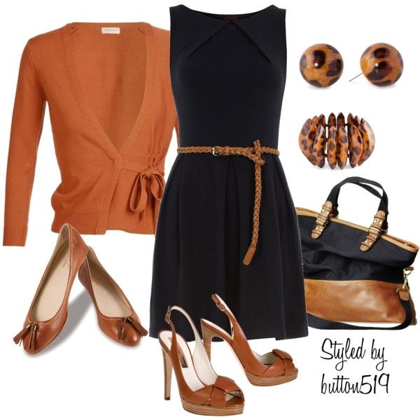 "Very ""fallish"" for the office or leave cardigan behind and wear chic little dress out to dinner:)"