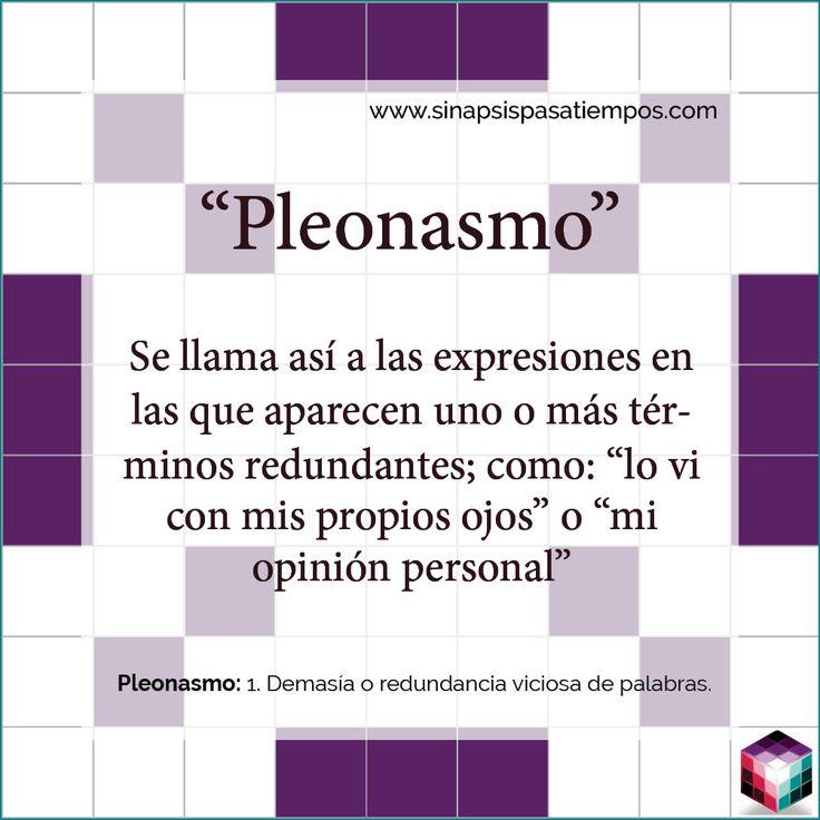 Curiosidades del español. #Pasatiempos #Palabras #Castellano #Español #Curiosidades #Pleonasmo #Redundancia  www.sinapsispasatiempos.com