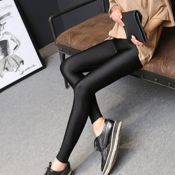 These sleek and simple shiny leggings are perfect for Spring, Summer, and even Fall. They are super stretchy for a variety of sizes and body types and they are