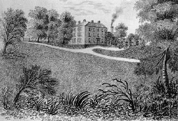 Roe Head School c. 1835 - 1837 (Drawn by Anne)  This study is titled at the bottom - 'Roe Head, Mirfield': it is not dated but was drawn sometime between 1835 and 1837 when Anne was a pupil at this school. Its aspect is from the front gate - and it is very similar to the sketches done by Charlotte, and their art teacher Susan Carter.
