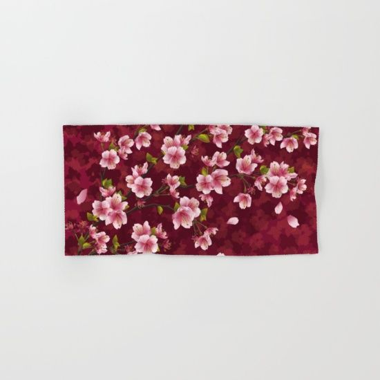 #cherryblossom #flowers #floral #towels Available in different #giftideas products. Check more at society6.com/julianarw