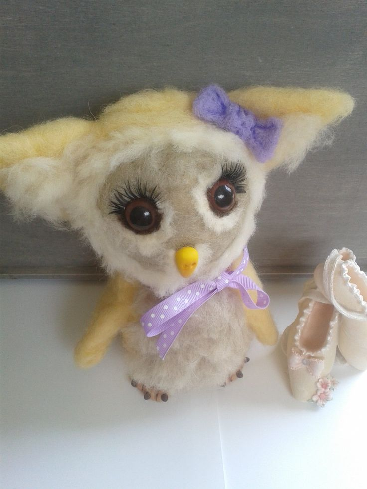 Needle felt Yellow and Purple owl/ 50% proceeds to charity, 22cm high by ArtsCraftsEmporium on Etsy